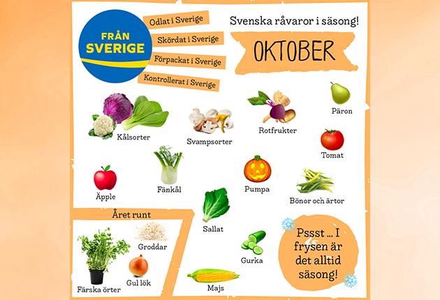 Välj svenska råvaror, livsmedel & växter i säsong!